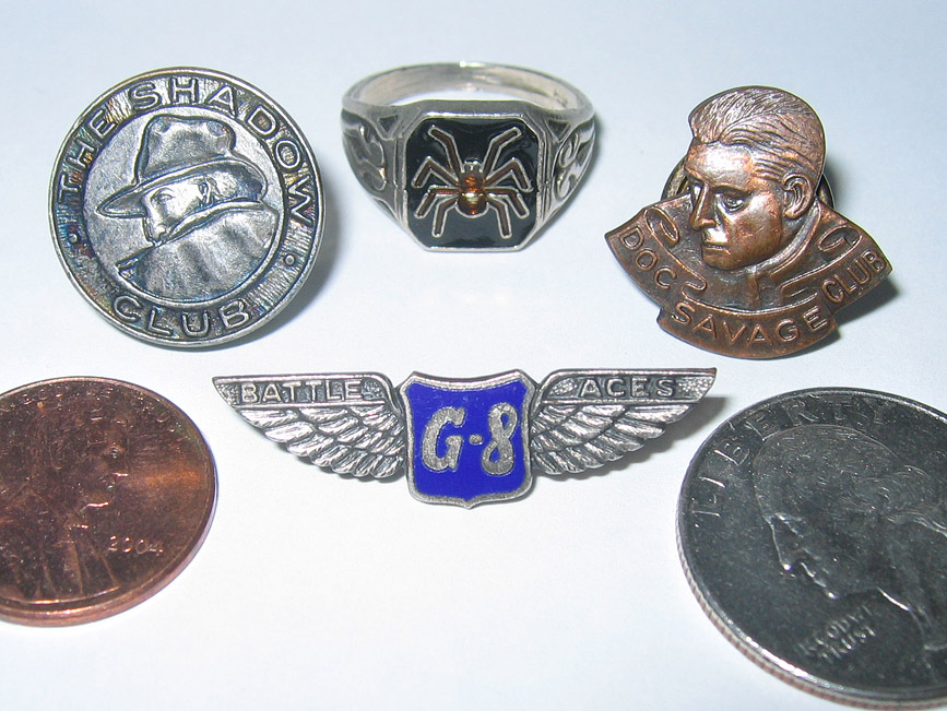 Comparison of G-8 wings with Shadow & Doc pins and (repro) Spider Ring